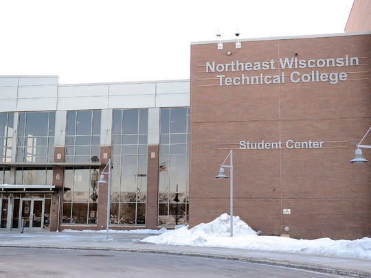Northeast Wisconsin Technical College main entrance and Student Center in Green Bay.