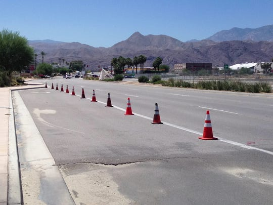 Sunday's rain storm damaged a turn pocket on Gene Autry Trail in Palm Springs. It will be repaired during a road paving project that begins Aug. 18, according to the California Department of Transportation.