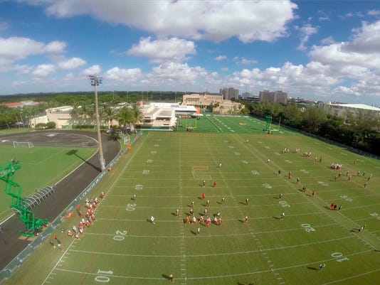In this Oct. 28, 2014, aerial photo provided by Miami Athletics, the Miami NCAA college football team practices in Coral Gables, Fla. The Hurricanes are using drones to capture scenes from their workouts, seeing things from players' perspectives. (AP Photo/Miami Athletics)