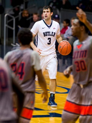 Butler guard Alex Barlow (3) brings the ball up court and into the defense of UT-Martin, Dec. 22, 2014.