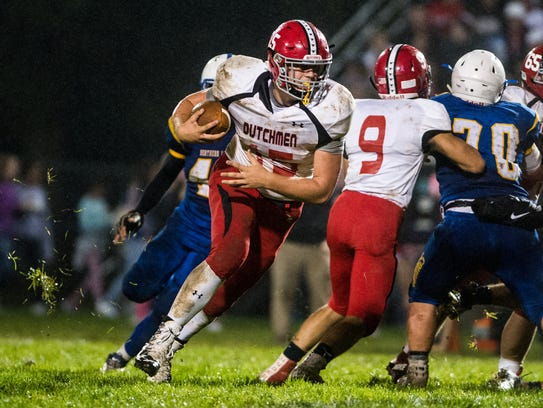 Annville-Cleona's Noah Myers gets around the corner