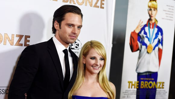 Sebastian Stan (Lance) and Melissa Rauch (Hope) pose