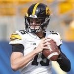 Iowa Hawkeyes quarterback Jake Rudock warms up before playing the Pittsburgh Panthers at Heinz Field.
