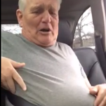 Video of a man stuck in his seat belt.