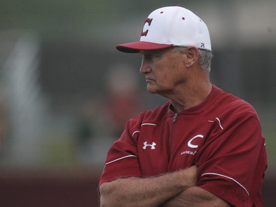 Chiles baseball coach Dick Steed watches his team.