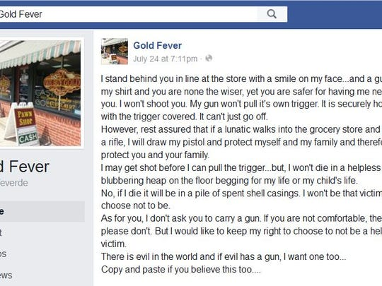 Gold Fever's Facebook page posted about carrying a weapon, even though two of its operators were prohibited from doing so.