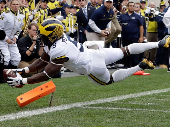 Michigan's Jabrill Peppers scoring a touchdown in a game against Michigan State this season. Peppers ran for a touchdown, scored a defensive 2-point conversion, made seven tackles and had a sack in the win.