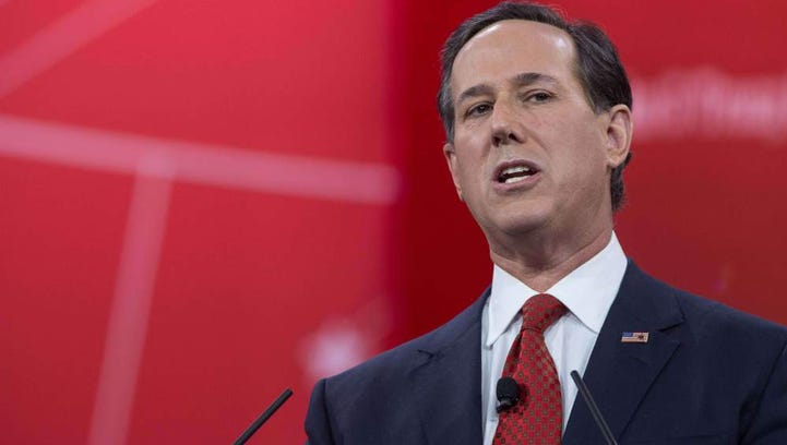 Former senator Rick Santorum speaks at the annual Conservative Political Action Conference (CPAC) at National Harbor, Maryland, outside Washington, on February 27.