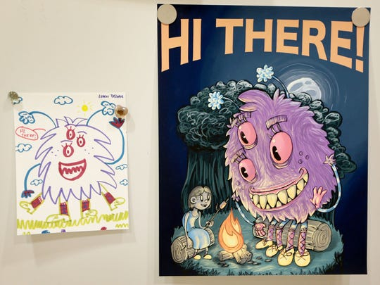 Memphis College of Art student David Thomas' friendly monster is on display in Le Bonheur Children's Hospital alongside the drawing that inspired it by patient Loren Degan. The hospital is collaborating with the Memphis College of Art for a second year with MCA students, faculty and staff reimagining monsters originally created by the hospital's child patients.