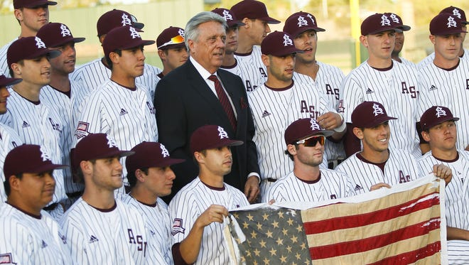 Rick Monday, a new member of National College Baseball Hall of Fame is honored before the game as ASU faces off against University of Arizona on Tuesday, April 26, 2016, at Phoenix Municipal Stadium in Tempe, Ariz. In 1976 Monday stopped an american flag from being burned by protesters at Dodger stadium.