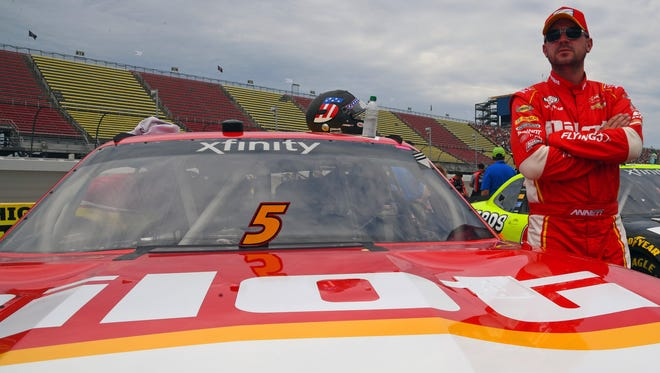 NASCAR Xfinity Series driver Michael Annett (5) before the Irish Hills 250 at Michigan International Speedway.