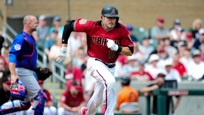 Arizona Diamondbacks center fielder A.J. Pollock (11) grounds out in the first inning against the Chicago Cubs at Salt River Fields at Talking Stick.