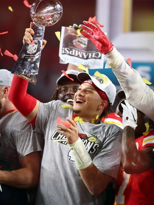Kansas City Chiefs quarterback Patrick Mahomes (15), who led the Chiefs to a Super Bowl victory in February, agreed to the richest contract in professional sports history Monday: