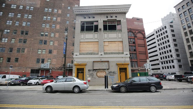 This is the former Grind strip club that will be demolished Thursday, March 10, 2016 to make way for the Dan Gilbert micro-lofts project in the  Capitol Park district of downtown Detroit.
