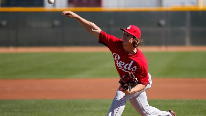 Non-roster invitee pitcher Michael Lorenzen throws during live batting practice at spring training in February.