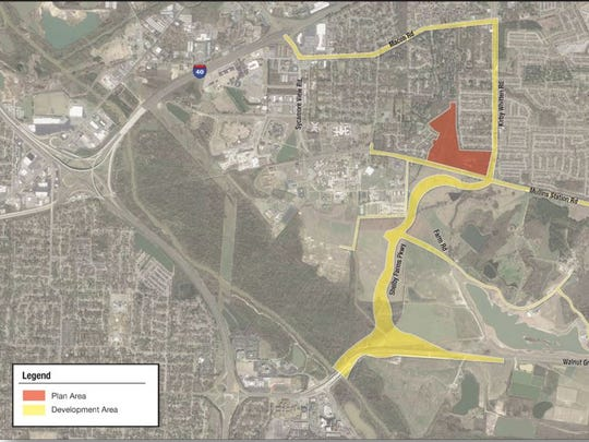 The proposed tax-increment financing district.