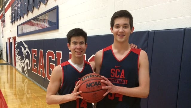 Point guard Reed Myers (left) and post Ethan Spry have made an immediate impact on Scottsdale Christian's top-ranked Division III team as freshmen.