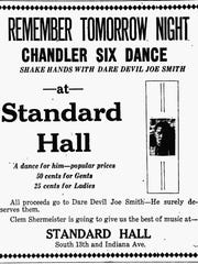 Sheboygan Press ad for a benefit dance at Standard Hall for Joe Smith with all proceeds going to Smith. It also gave his fans a chance to meet their hero.