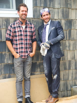 """Toms River native screenwriter Bryan Sipe (left) and Jake Gyllenhaal on the set of """"Demolition."""""""