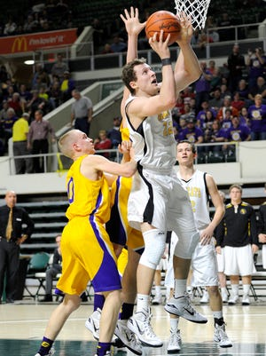 Paint Valley's Mason McCloy shoots the ball during the Division IV District Semifinal contest between Paint Valley High School and Racine Southern at Ohio University's Convocation Center. The final score was Paint Valley 65, Racine Southern 49.