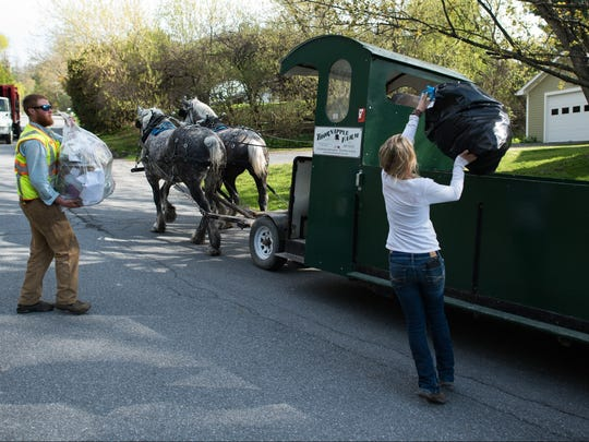 In this May 5, 2015 photo, Nick Hammond, left, and Amanda Morse, right, collect garbage and recycling in Middlebury, Vt. Patrick Palmer's horse-drawn garbage collection business has clip-clopped through the sleepy village of Bristol collecting trash for 18 years. Now he is training Hammond and Morse to collect trash with a team of draft horses in the busier college village of Middlebury. (AP Photo/Andy Duback)