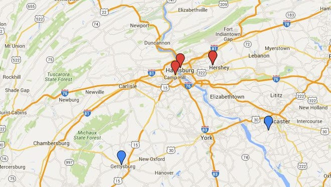 Presidential candidates are visiting central Pennsylvania.