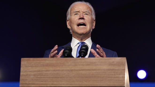 Democratic presidential candidate former Vice President Joe Biden speaks, Friday, Nov. 6, 2020, in Wilmington, Del.