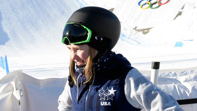 Maggie Voisin (USA) during slopestyle skiing media day prior to the Sochi 2014 Olympic Games at Rosa Khutor Extreme Park.