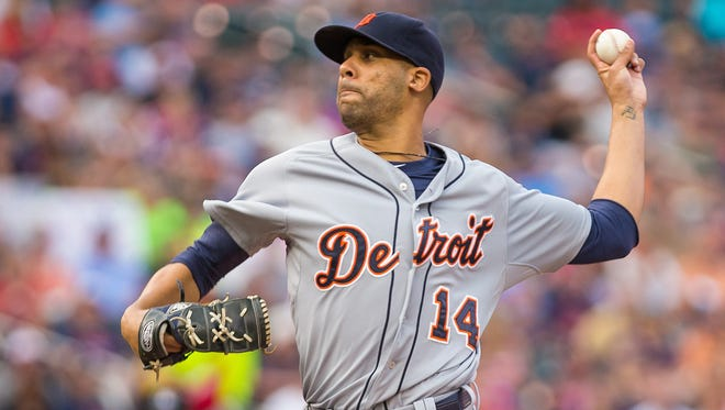Detroit Tigers starting pitcher David Price (14) pitches in the first inning against the Minnesota Twins at Target Field.