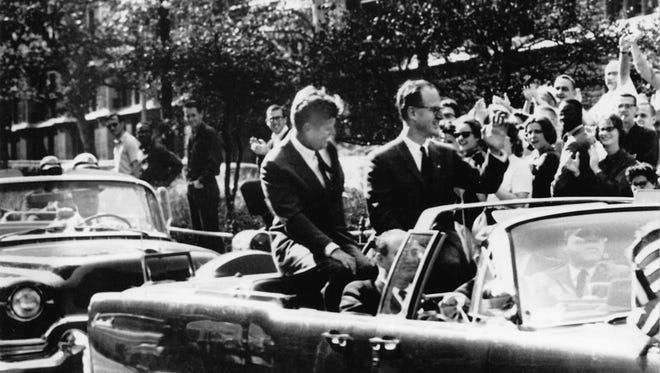 Robert Morgenthau (R) with JFK on visit to New York