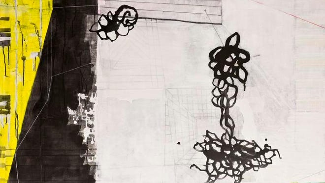 """Alyce Gottesman, """"Divergent Spaces,"""" pigment dispersion in polymer with ink, graphite and ground glass powder on canvas."""