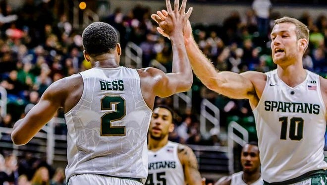 Javon Bess ,2, of MSU gets a high-five from teammate Matt Costello after laying the ball in and being fouled by an Arkansas-Pine Bluff player during their game Friday November 20, 2015 in East Lansing.