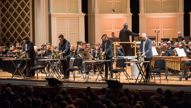 """So Percussion performing """"man made"""" by David Lang, with the Cincinnati Symphony under maestro Louis Langrée."""