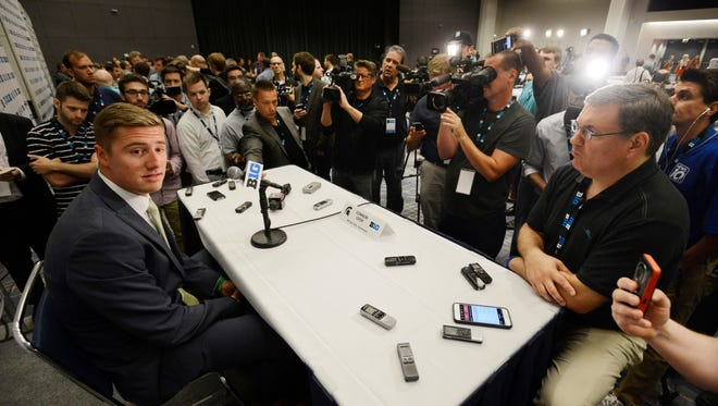 Michigan State quarterback Connor Cook speaks to the media during Big Ten Football Media Days on Thursday in Chicago.