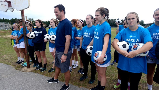 """The Western Washington University women's soccer team visit students at MacArthur Elementary School on Wednesday as part of the NCAA Division II soccer outreach program. Soccer teams from all over the country, four men's teams and four women's teams, have arrived in Pensacola for the NCAA II Final Four hosted by the University of West Florida at Asthon Brosnaham Park. In addition to tournament play, the teams are visiting schools this week to get kids excited about soccer and stress the importance of studying in addition sports. """"Every time they have made it to the final four this is what they look forward to the most,"""" said head coach Travis Connell."""