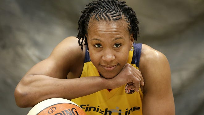 Indiana Fever forward Tamika Catchings (24) during the Indiana Fever Media day Monday, May 9, 2016, morning at Bankers Life Fieldhouse.