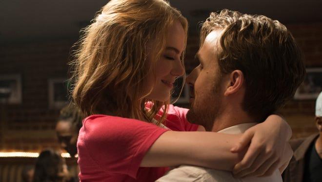 "Emma Stone and Ryan Gosling star in the musical ""La La Land."""