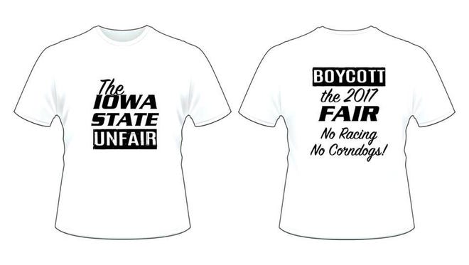 "You La La Apparel in Des Moines is selling ""The Iowa State Unfair"" t-shirts, following the announcement that the Iowa State Fair Speedway will be discontinued."