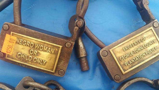 These slave shackles, likely replicas, were on sale for $250 at a vendor during the Park County Covered Bridge Festival.