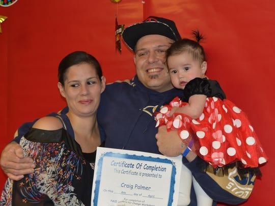Alicia Sepulveda congratulates her fiance, Craig Palmer,