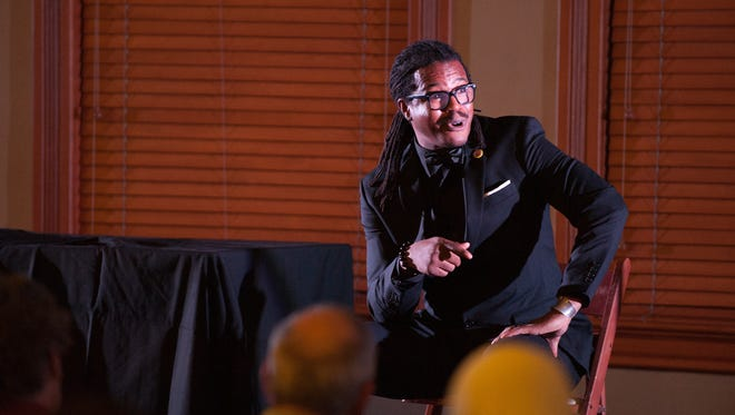 """ASU student Rashaad Thomas tells a story during """"Arizona Storytellers: Lessons Learned, Lessons Avoided"""" on Monday, Jan. 18, at Old Main on ASU's Tempe campus."""