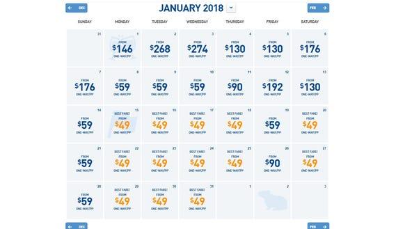 JetBlue's sale fares showed decent availability during