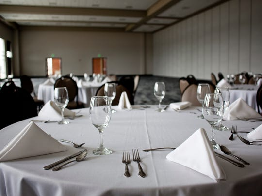 Tables are set up in a partition of the main hall Tuesday, April 14, 2015 at the Blue Water Convention Center in Port Huron. The center will officially open this Friday with a ribbon cutting ceremony at 4 p.m., followed by an open house from 11 a.m. to 2 p.m. Saturday.