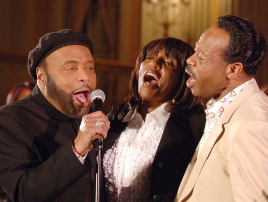 Gospel stars Andrae Crouch, left, Sandra Crouch and Edwin Hawkins belt it out for a 'Grammy Salute to Gospel Music' on Feb. 4, 2006.
