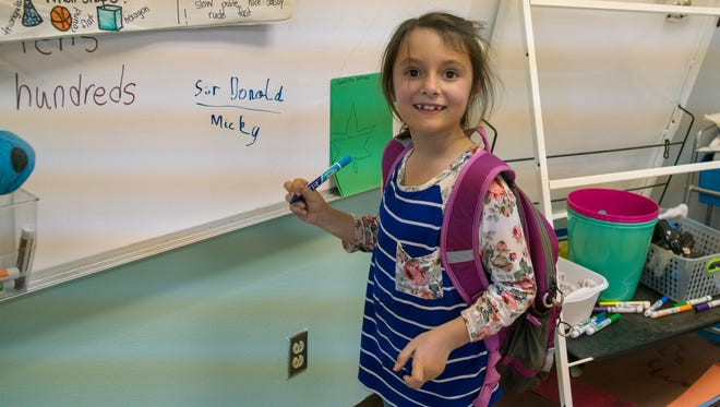 Kate Green, 7, attends school in Mosquero, the least populated place in all of New Mexico.