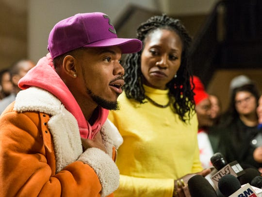 Chancelor Bennett, known professionally as Chance The Rapper, endorses Amara Enyia for mayor of Chicago last year.