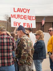 Supporters of LaVoy Finicum rally near the Washington