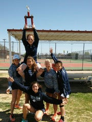 The Piedra Vista girls tennis team poses for a photo after placing third at the Roswell Invitational on Saturday in Roswell.