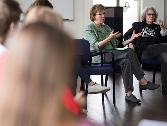 Dean of the College of Arts and Sciences Theresa Lee and Associate Professor of History Lynn Sacco lead a discussion about the history and science of gender and gender identity at Sex Week 2018 at University of Tennessee, Monday, April 9, 2018.
