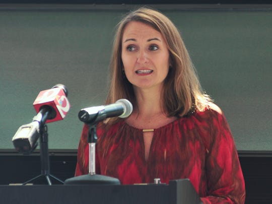 Angela DeMonbreun, program director at FLSUN.  Florida Solar United Neighborhoods (FLSUN), partnering with League of Women Voters for the Space Coast Solar Co-op Press Conference held Monday, Oct. 24, at the UCF Florida Solar Energy Center in Cocoa. Their goal is assistance in achieving widespread adoption of solar energy in Brevard County.